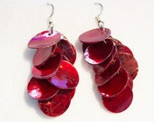 Red Earrings, Red Mussel Shell Earrings, Red Shell Earrings, Red Dangle Earrings, Shell Earrings, Clip ons Available
