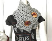 Gray Marble cowl with Tree Buttons