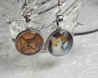 Custom Photo Earrings - Custom Cat Earrings - Custom Pet Earrings - Custom Pet Jewelry - Custom Dog Earrings - Sterling Silver Earrings