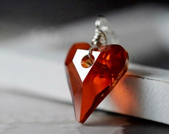 Red Magma Swarovski Heart Necklace Red Heart Necklace Valentine Mother Gift Swarovski Crystal Heart Wild Heart Pendant Sterling Silver