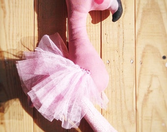 Flamingo -handmade fabric doll- cloth doll- OOAK