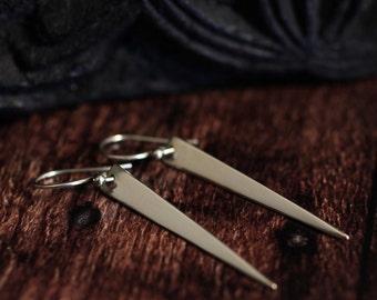 Extra Long Spike Earrings Drop Earrings Sterling Silver Earrings Triangle Earrings Dangle Earrings Pod Earring Gift For Her Jewelry Jewellry