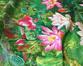 "56"" Wide Cotton Linen Fabric Monet Inspired Lotus Watercolor Pattern Emerald Green Hot Pink Fuchsia Red Apparel Dress Skirt Top Upholstery"