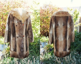 1960's Fur Coat Muskrat Fox Vintage Retro 60s Small Medium Lined Costume Theatre Fur Browns Amber Colored Buttons Hipster Winter