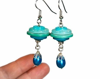 Button Earrings, Turquoise Aqua Dangle Earrings, Repurposed Recycled Upcycled Jewelry,  Button Jewelry