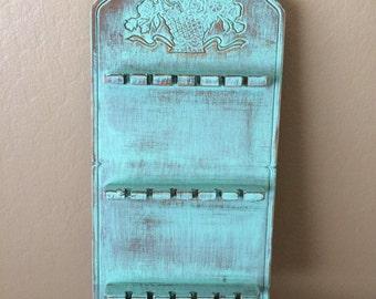 Vintage Wood Jewelry Rack Spoon Rack Beach Shabby Green