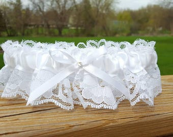 White Bridal Prom Garter Wedding Accessory Small Medium