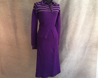 Vintage 40's Knit Skirt and Sweater Set, Purple Knit Wiggle Dress, Rockabilly, Bombshell, Size Small