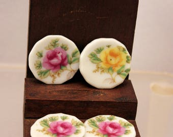 Miniature Plate Set Pink Yellow Roses 1 inch scale Dollhouse Dishes made Japan Porcelain