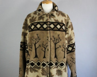 Vintage 90s Women's Brown Trees Woodland Rustic Fashion Fall Winter Soft Fleece Jacket