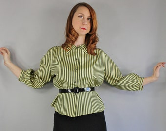 1950s Pinup Blouse, Green Stripes, vlv, Secretary, Mad Men, Spring, Summer, Pinup, Marilyn, Audrey Hepburn, Size Medium, FREE SHIPPING