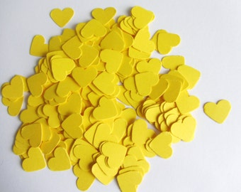 Wedding confetti hearts Yellow Paper hearts die cut hearts paper heart confetti yellow weddings