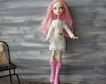 MH White Dress, Monster Doll Sparkling Dress, White Doll Dress, Bird Necklace, MH Long Chain Necklace, MH clothes