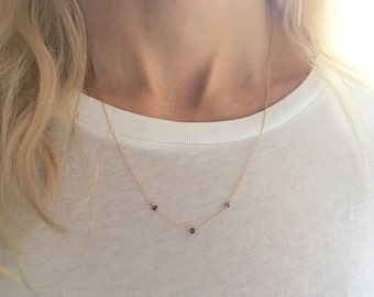 Amethyst Necklace, Gold Amethyst Necklace, February Birthstone, Amethyst Crystal, Dainty Necklace, 14k Gold Filled