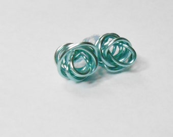 Baby Blue Love Knot Stud Earrings