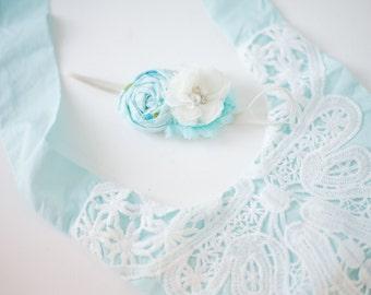 Aqua Dreams- aqua blue and off white chiffon spring rosette headband bow