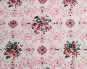 Antique 1940 Fabric - Cotton Pink Aqua Flower Floral On White