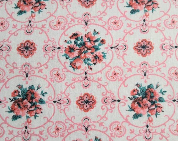 Antique 1940 Fabric - Cotton Pink Aqua Flower Floral On White