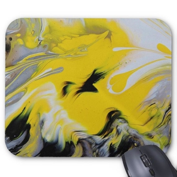 Mousepad Mouse Pad Fine Art Painting Abstract Yellow Black White Fine Art Contemporary Modern Wet Paint Drops Macro Liquid Amber Lamoreaux