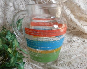 Striped Glass Beverage Pitcher Retro Vintage at Quilted Nest