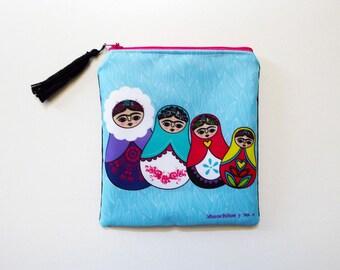 Frida Kahlo purse, original illustration, matrioska purse, babushka bag, matrioska bag, matrioska
