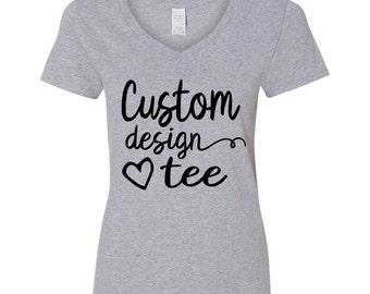 Custom Design Tee --  V Neck by BB&CP -- Screenprint Tee