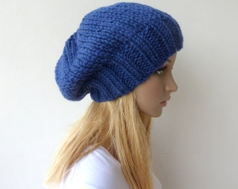 Blue Knit Hat Blue Slouchy beanie Womens Chunky Knit slouch hat Mens blue beanie