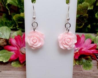 Pink Rose Earrings - Baby Pink Rose Earrings - Flower Earrings