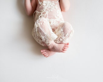 Girl Romper, Baby Pant, Baby Girl Overalls, Cream Lace Romper, Newborn Props, Baby Girl Props, RTS, Natural Props, Baby Lace Pants, Vintage