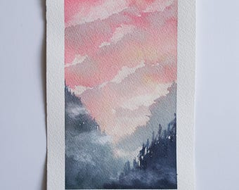 Ghosts - Watercolor Art Original Watercolor Painting Watercolor Landscape Cloud Painting Forest Painting Small Art Misty Landscape Sunset