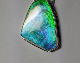 Ammolite Pendant Blue Green Purple Ammolite Color Changer Sterling Silver Statement Pendant 925 Jewelry