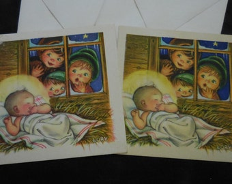 2 Vintage Christmas card Baby Jesus children window Ars Sacra unused square 1940's greeting holiday cards