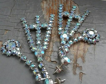 Eiffel -  unique blue crystal AB aurora borealis frames,  prong set rhinestone diamonds, vintage 1950s costume post earrings