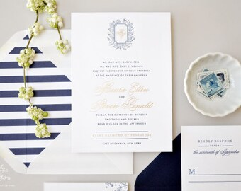 INVITATION SAMPLE The Prep Suite - Gold Foil and Navy Letterpress Wedding Invitation - Heirloom Wedding Invitations by Sincerely, Jackie