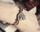 SALE - Aged Brass & Swarovski Bracelet - Cuff - Purple - Tanzanite - Fantasy - Mermaid - Winter - Holidays - Gift - December - Bridal