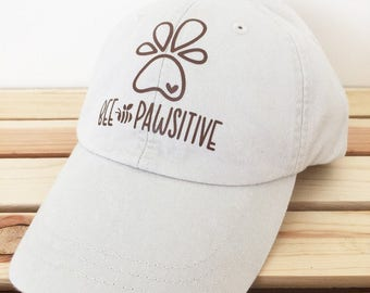 Dog Lover  Ballcap Baseball Cap Be Positive Bee Pawsitive  - Crown and Honey Baseball Cap  -  Matching Tee in Shop