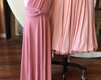 "Ready to Ship- girls, 28"" Aline Length Dusty Rose-Long Octopus Infinity Convertible Wrap Gown"