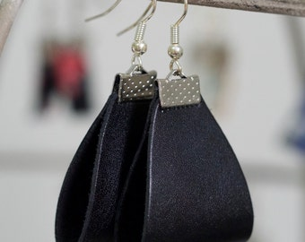 Black and Silver Leather Earrings