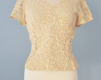1950s Lace Blouse...Vintage Golden Ivory Alençon Lace Blouse
