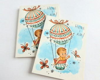 New Baby Birth Announcements Lot of 10 Unused Mid Century Fill in the Blank Gender Neutral Cards
