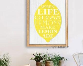 When Life Gives You LEMONS Make Lemonade | Wood Sign | Rustic Sign | Farmhouse Decor| Gallery Wall| Living Room Art | Kitchen Art