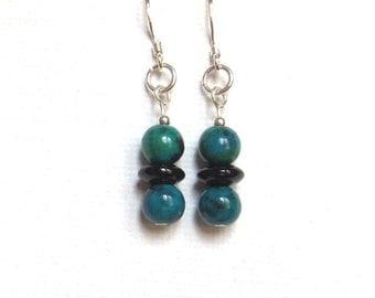 Aqua & Jet Black Earrings - Turquoise Jasper Earrings with Glass Beads - 925 Sterling Silver - Tiny Dangle Earrings - Ladies' Earrings