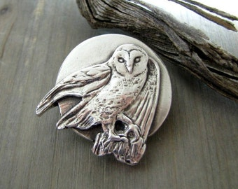 Seeker No.2, Fine Silver Owl and Moon Pendant, Original and Exclusive, by SilverWishes
