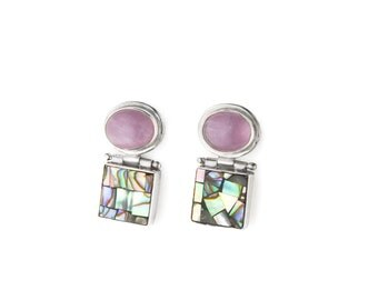 Abalone Mosaic and Amethyst and Sterling Silver Earrings