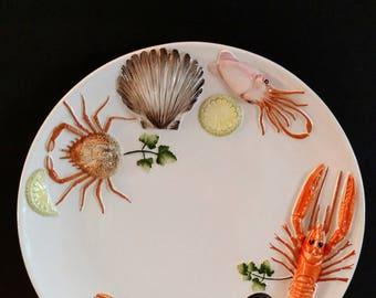 """Italian Pottery Platter Lobster Seafood 14"""" Bassano Italy/ Coastal Decor"""