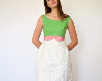 60s Perfectly Prim Structured Quilted Daisy Skirt Cupcake Dress xxs xs