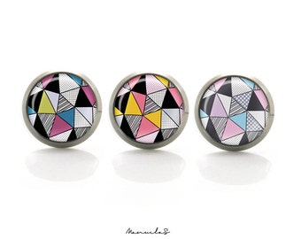 Colorful triangle geometry - 3 custom colors earrings studs Titanium Post Earrings | Hypoallergenic Earrings | Titanium Sensitive jewelry
