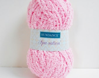 Pink Yarn Sundance Spa Sation Chenille Type Bulky Soft Fuzzy Cozy Great for Baby Projects, Knitting and Crochet Yarn