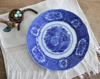 Antique English Flow Blue Plate Oriental