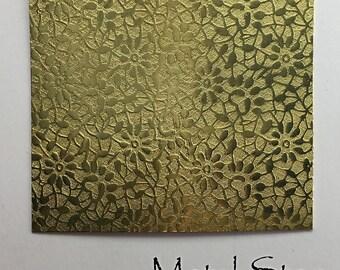 "Textured Brass 24 gauge Sheet Metal 2.5"" x 3"" - Flower Leaf Pattern Solid Brass Sheet Metal 86"
